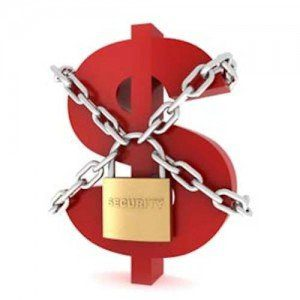 A bright red dollar sign, secured with silver chains and a gold padlock.