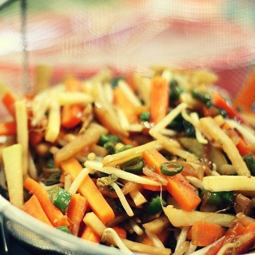 An Asian-inspired salad with chicken and plenty of colorful vegetables.