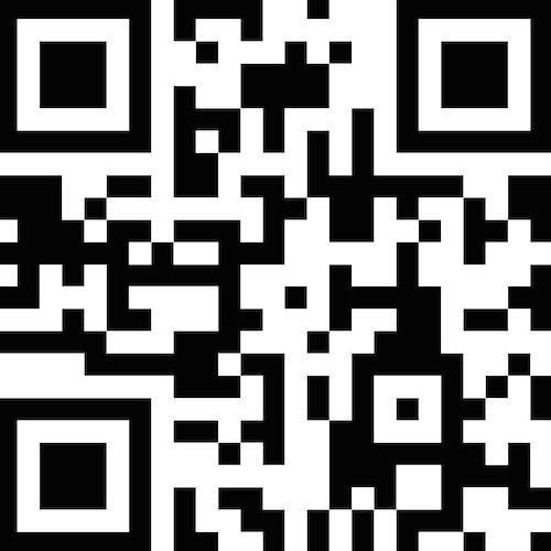 A QR code - black and white shapes that scan to reveal information.
