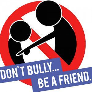"Anti-bullying logo with the message, ""Don't bully... be a friend."""