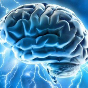 A cartoon brain awash in a blue background, surrounded by lightning..