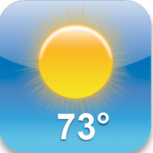 A bright, yellow sun on a background of light blue sky, white numbers marking the temperature of seventy-three degrees. The icon image for a default weather app.