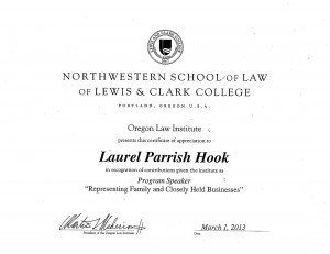 """Laurel Hook presented her """"Representing Family and Closely Held Businesses"""" class to fellow attorneys last night as part of the Oregon Law Institute."""