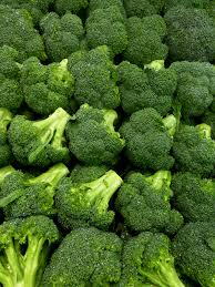 Rows of vibrant green broccoli florets.