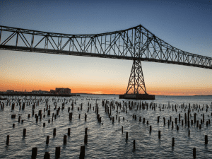 View of the Astoria-Megler bridge at sunset.