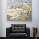 Second floor waiting area of SK&H Portland office.