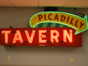 """Picadilly Tavern"" sign in SK&H Portland office kitchen."