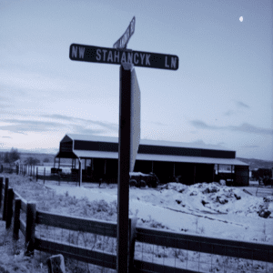 "View of ""Stahancyk Lane"" during wintertime in Prineville, OR."
