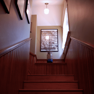 Interior view of the staircase in the SK&H Vancouver office.