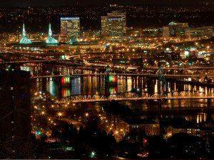 City, Portland, night, night shot, lights, volunteering, community