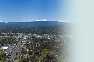 Helicopter shot of the city of Bend, OR.