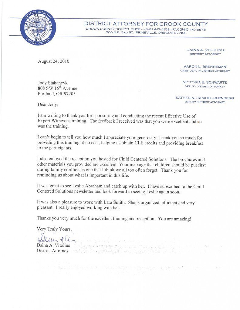 "A Letter from the Crook County DA about Jody's CLE presentation, ""Effective Use of Expert Witnesses"""