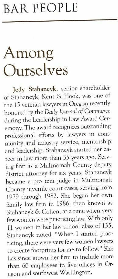 Jody Stahancyk Mentioned by Oregon Bar Bulletin