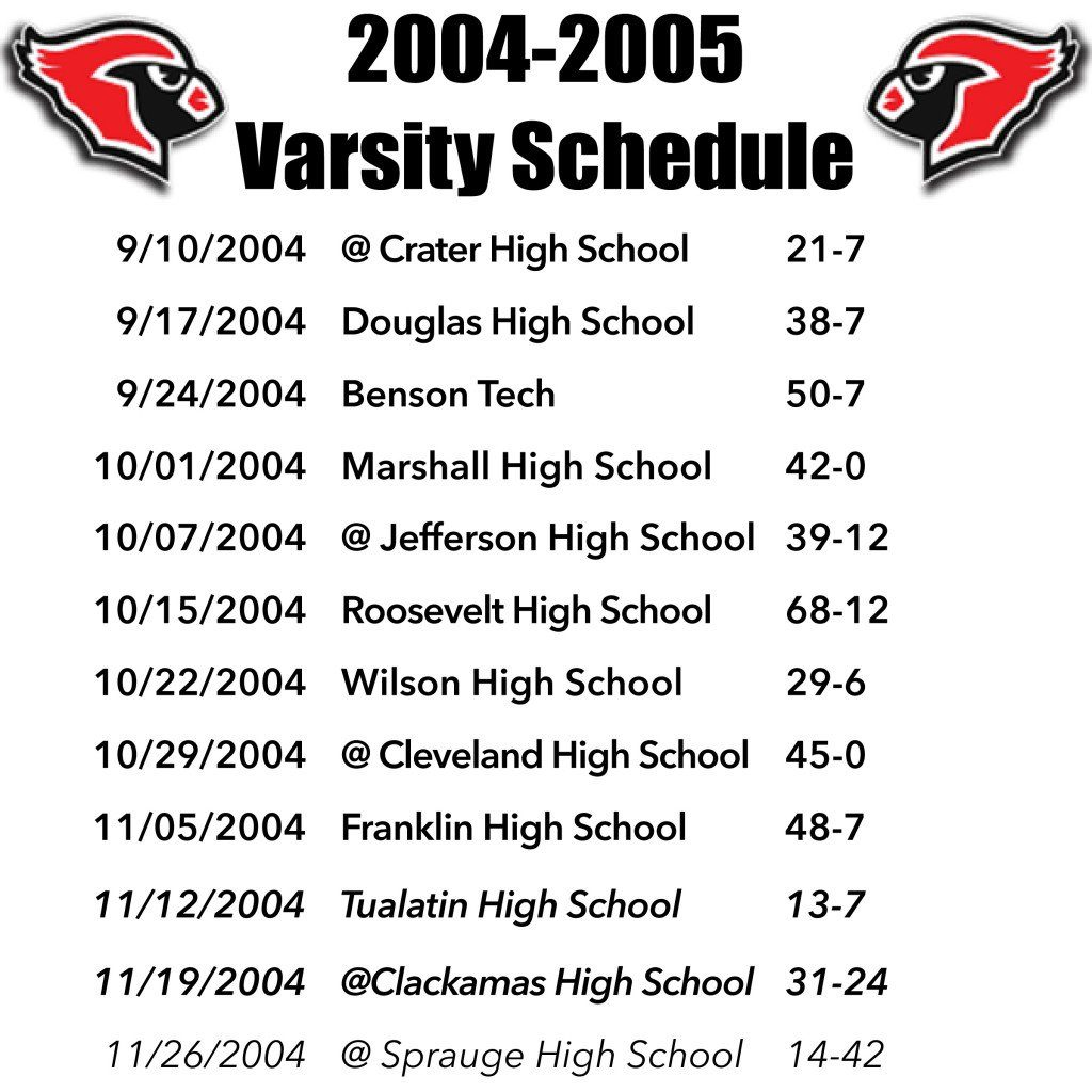 LHS Cardinals 2004 Schedule