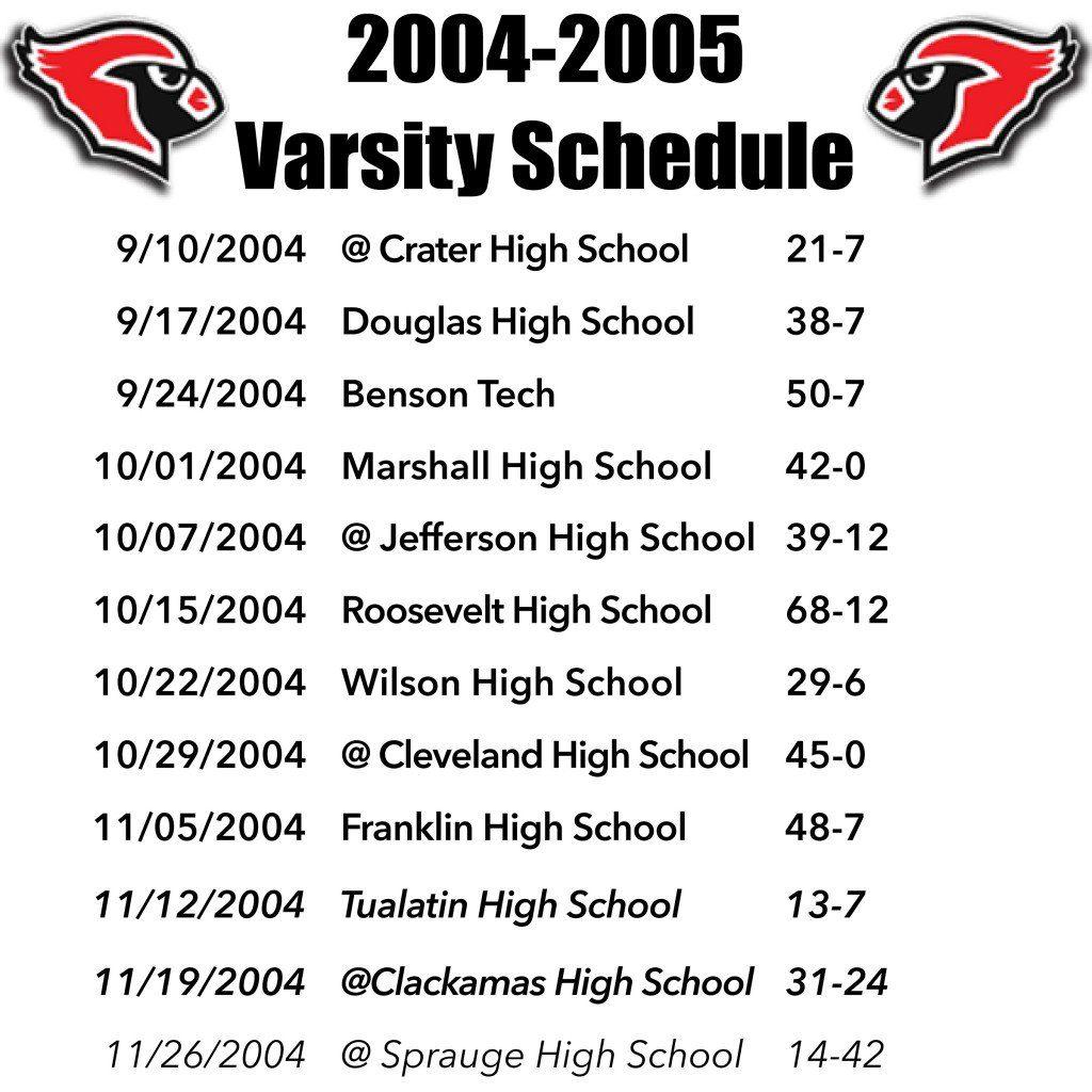 LHS Cardinals 2004 Schedule