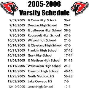 2005 LHS Varsity Schedule.