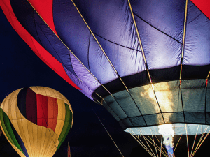 Hot Air balloons in the night.