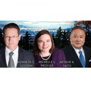 Kenneth Goodin, Michelle Prosser and Arthur Saito against a painted backdrop.