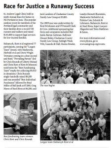 An article about the St. Andrew Race for Justice featuring the Stahancyk team