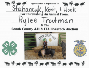 Rylee Troutman 4H Thank You