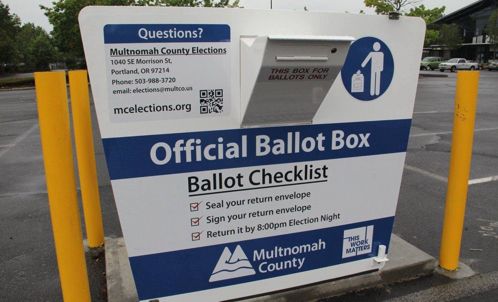 Ballots can be dropped off at ballot boxes throughout Oregon, including this one in Multnomah County, until 8:00 p.m. Tuesday, May 19.