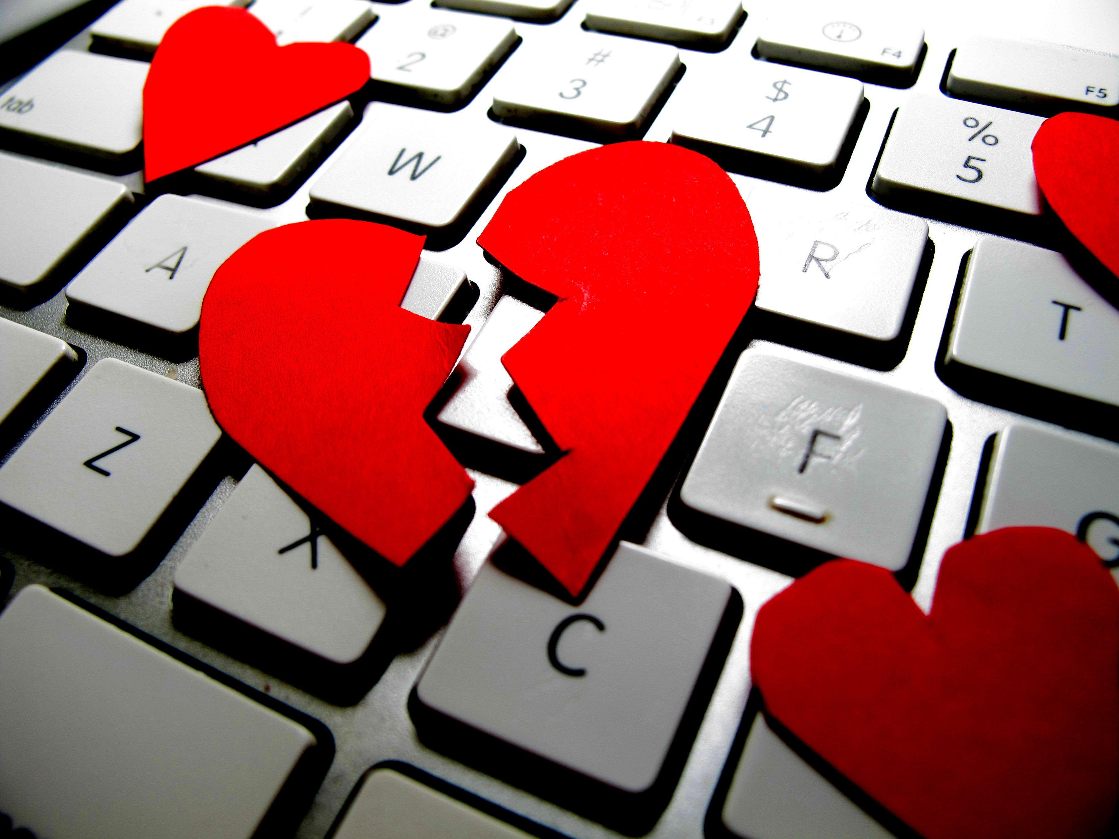 Broken hearts on keyboard