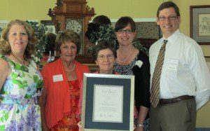 Stahancyk Kent & Hook attorneys Frederick Schroeder and Erica Strader, legal assistant Linda Smith, and SMART Oregon Central Area Manager Diane Turnbull and statewide Volunteer of the Year Kathy Knower attend the Library of Congress Award luncheon at Stahancyk House in Prineville June 15.