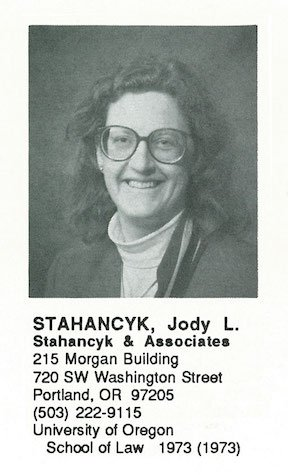 Jody Stahancyk - 1989 Multnomah Bar Association Directory