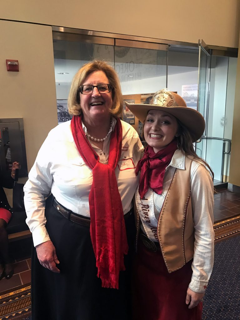 Jody Stahancyk and Miss Crooked River Roundup at the Oregon Historical Society Event April 27, 2017