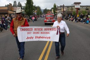 Sign for Jody Stahancyk Grand Marshal of the Crooked River Roundup 2017