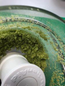 Mixed Green Basil Sugar in food mixer, a recipe from Stahancyk, Kent & Hook