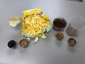 Ingredients for popcorn party mix, a recipe from Stahancyk, Kent & Hook
